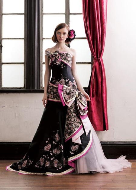 ブラックの着物のお色直しドレス マーメイド