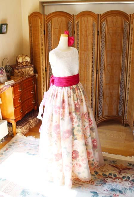 中高生のジュニアドレス プリント柄のツートンカラー