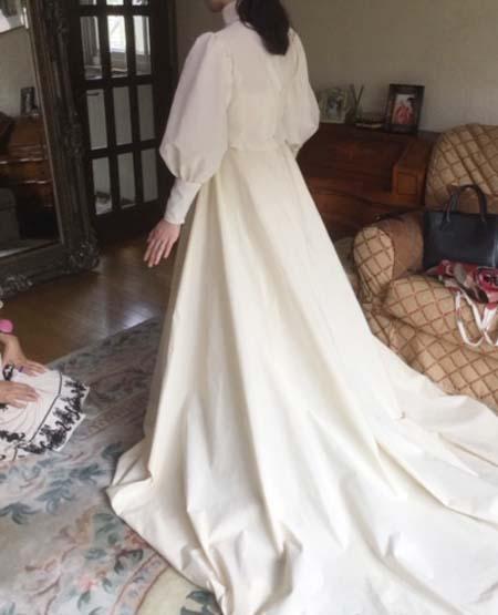 シーチングドレスでの仮縫い