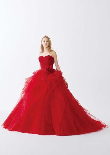 レッドのお色直しカラードレス カクテルドレス