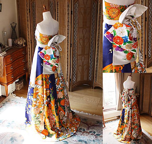 帯を使用したウェディングドレスのデザイン