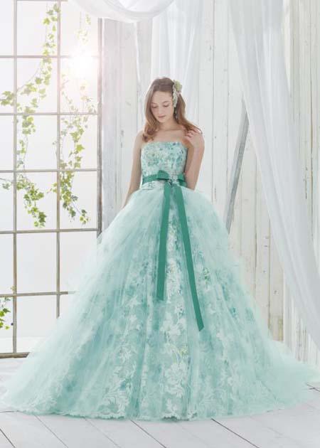 グリーンのカクテルドレス お色直しカラードレス