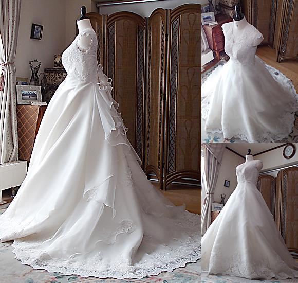 Aラインのウェディングドレスを制作
