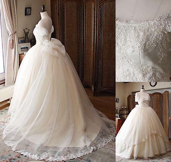 細工と詳細のデコルテ オーダーメイドウェディングドレス