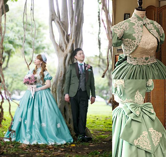 お客様の結婚式用のお色直しカラードレス アンティークカラードレス