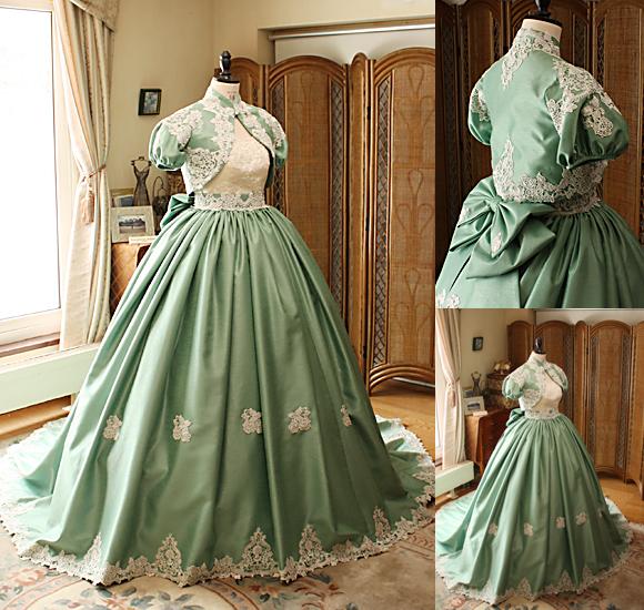 カラードレスのデザイン アンティークグリーン オーダーメイド
