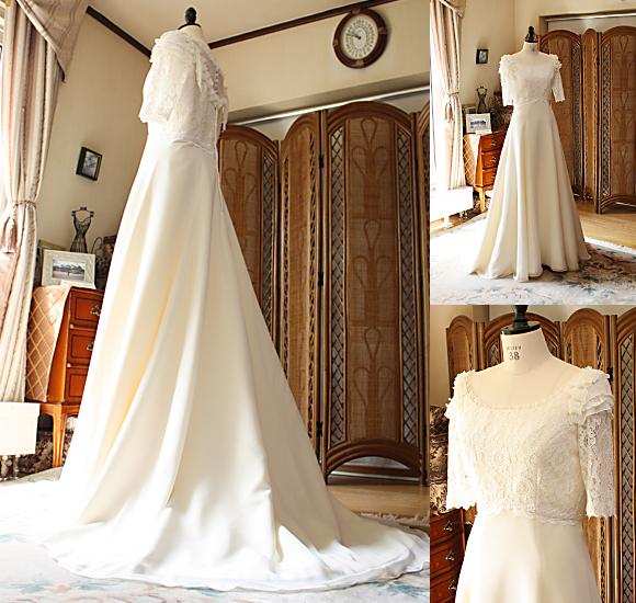 スレンダーラインのウェディングドレスと上半身デザイン