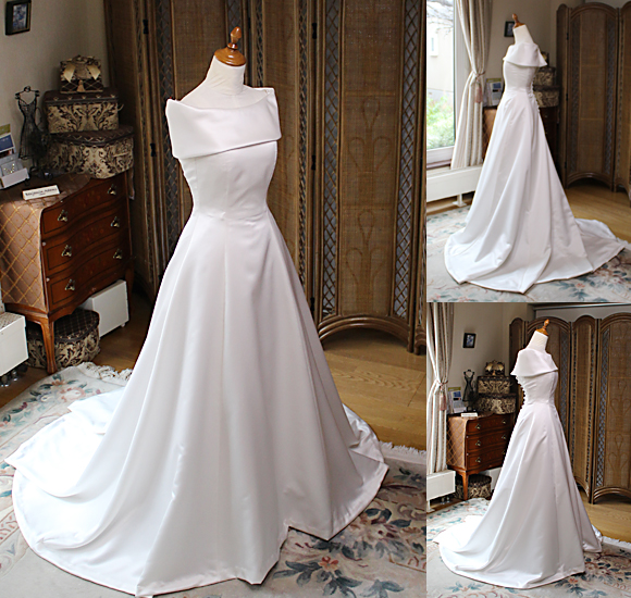 クラシック調のショールカラー スレンダーAラインウェディングドレス