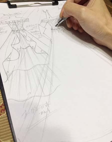 オーダーメイドウェディングドレス デザイン画