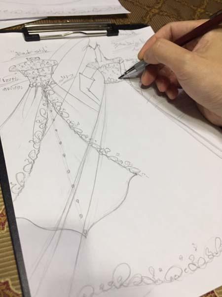 ウェディングドレスのオーダーメイド デザイン画