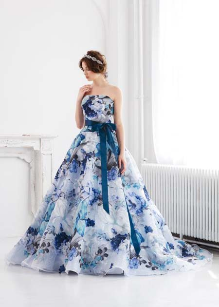 花柄のプリントカラードレス ブルー