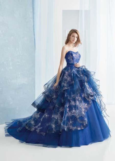 グリッターチュールのネイビーカラードレス