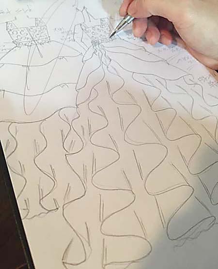 デザインコンセプトを表現するドレスのデザイン画 子供用発表会ドレス