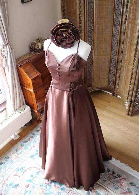ブラウンのロングドレス オーダーメイド
