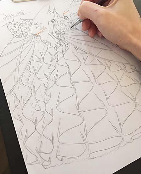 ピアノの受賞者記念コンサートドレス デザイン画 オーダーメイド 関西