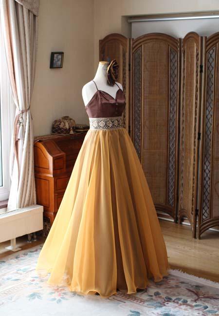 ロングドレス ブラウンとオレンジ 2トーンカラードレス