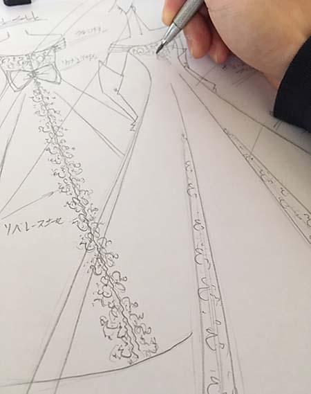 お客様に描いたウェディングドレスのオーダーメイド 東京 関東地域