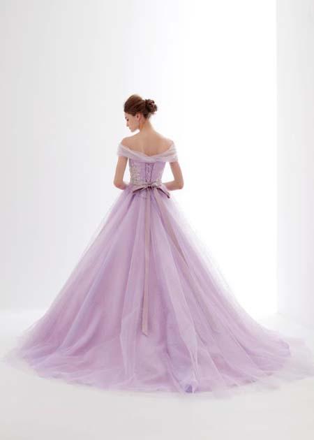 バックスタイル ウェディングドレス ラベンダー