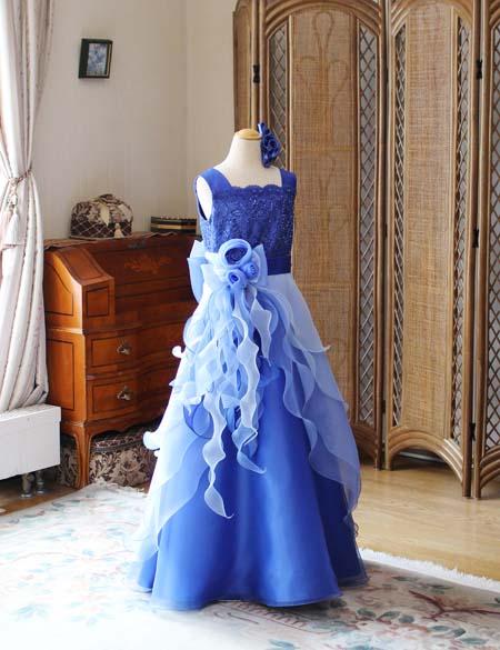 小学生ドレス ピアノのコンサートドレス ブルー