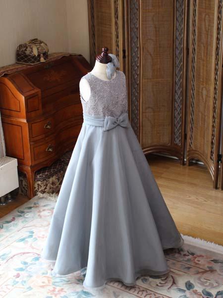 東京都のお客様にドレスを製作 グレーのロングドレス