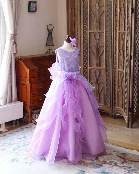 パープルのグラデーションカラー ベルラインスカートドレス