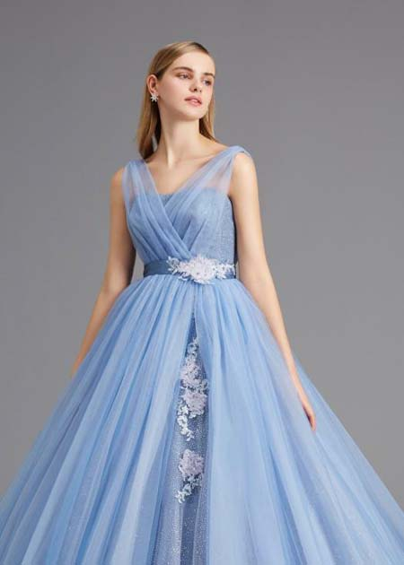 2wayスタイル カクテルドレス ブルー