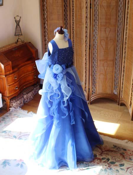 ブルーのグラデーションドレス ピアノのリサイタル オーダーメイド