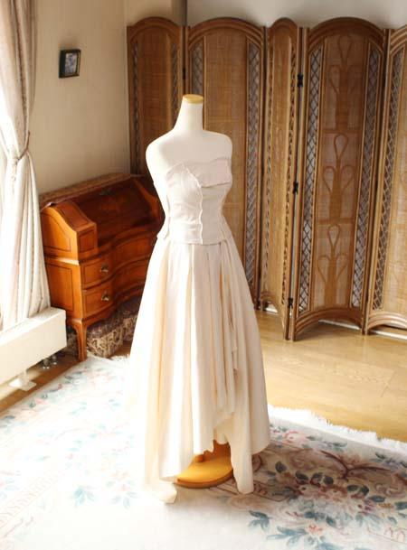 ウェディングドレス 2WAY ミディアム丈ロングスカート