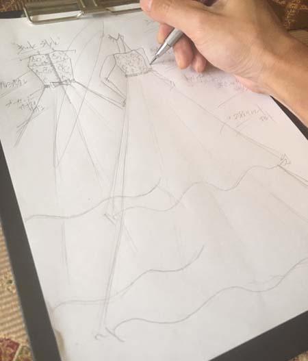 ヴァイオリンコンクール用ドレス デザイン画