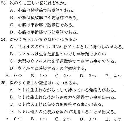 200?滋賀学士過去問生命科学23-25