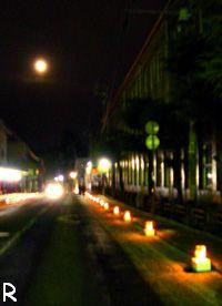 追手町小学校前までつづく灯りの列