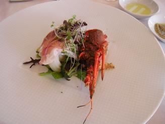 Insalata di aragosta e prosciutto con legumi