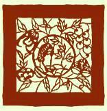 万年堂の紙袋:延命富貴の図「月宮三仙」