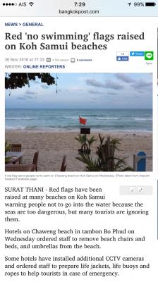 サムイ島遊泳禁止2016.12