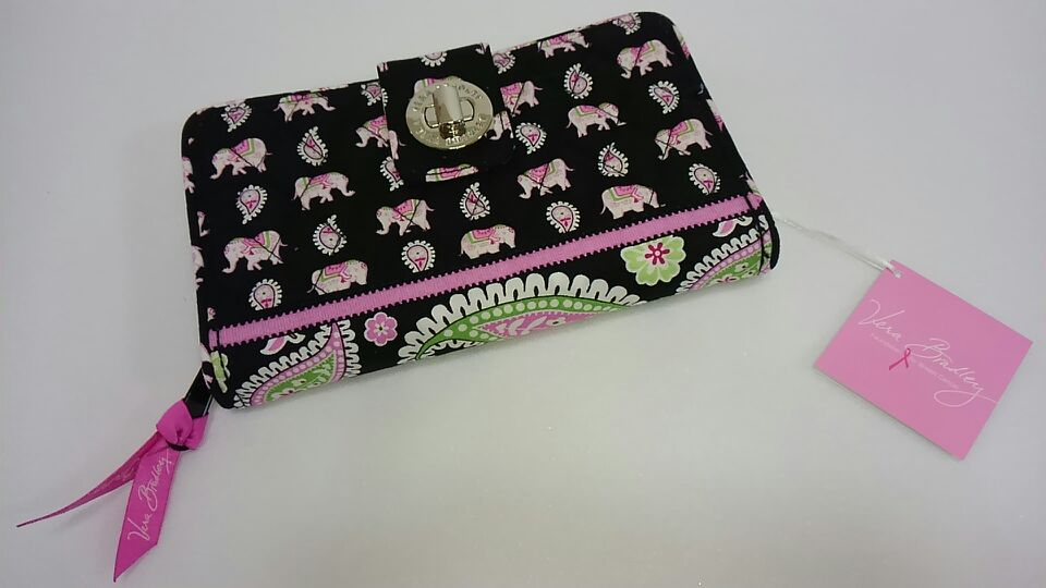 Turn Lock Wallet in Pink Elephants