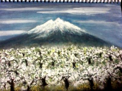 岩木山とリンゴの花
