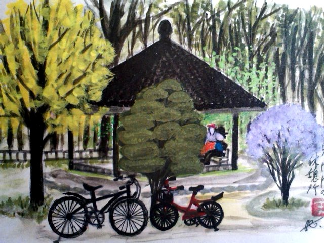 植物園前の休憩所