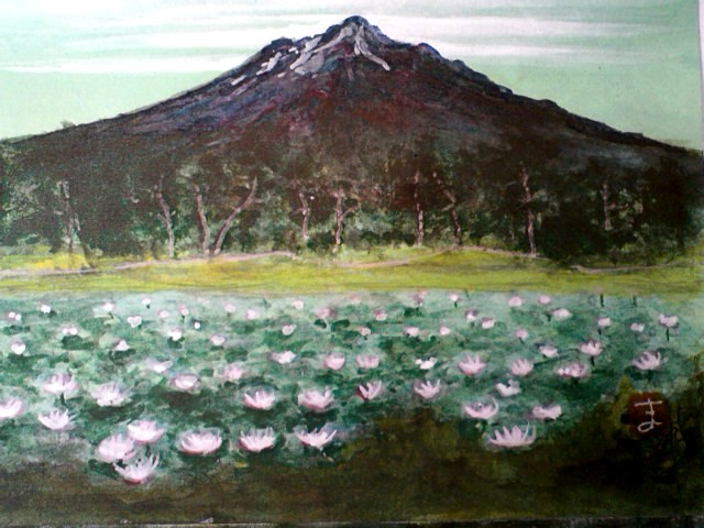 岩木山と蓮池