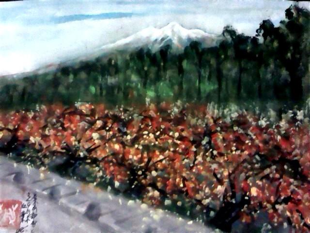 桜の紅葉と岩木山