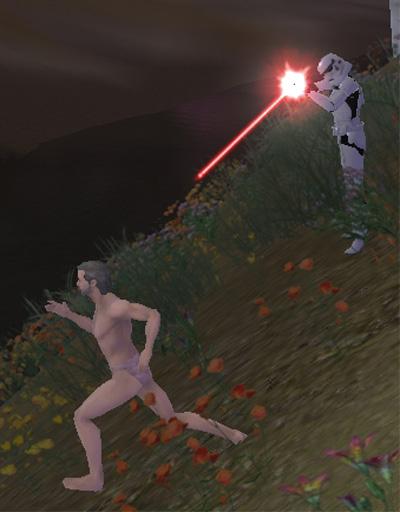 撃たれる全裸男!