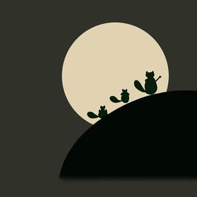 帯:月に狸