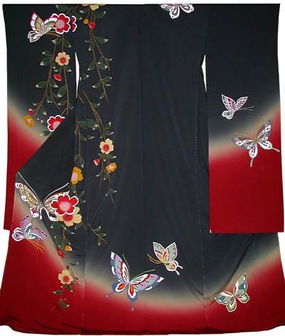 振袖:片枝垂れ桜に蝶