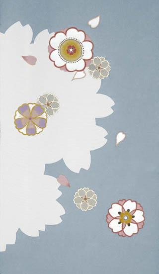 遊小紋�桜シルエットに桜