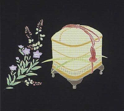 虫籠に萩桔梗太鼓