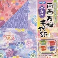 裏面が伝統小紋柄「青海波」の両面友禅千代紙です。