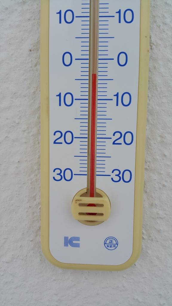マイナス4℃の温度計
