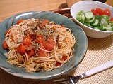 トマトと椎茸の和風パスタ