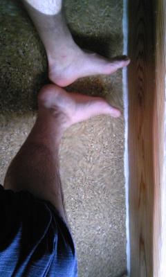 足湯に入った自分の足