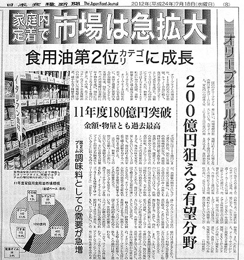 オリーブオイル特集「日本食糧新聞」