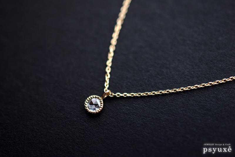ローズカット・ダイアモンドとミルグレインのネックレス